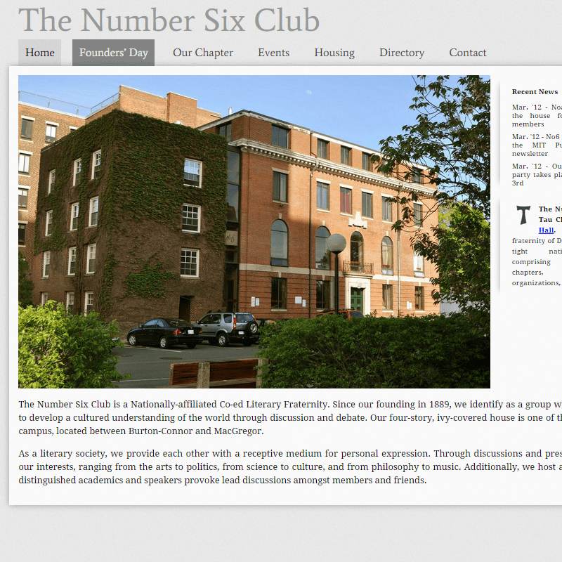 Number Six Club Website